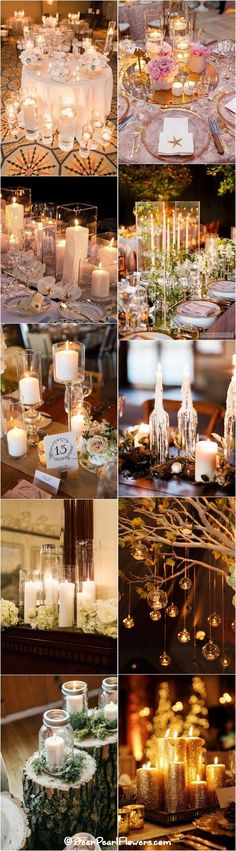 Rustic romantic wedding candle decor ideas / http://www.deerpearlflowers.com/wedding-ideas-using-candles/