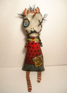 Handmade Art Doll Monster Rue by JunkerJane on Etsy