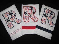 Initial Burp Cloth set of three favorite baseball team