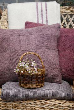 Woven Welsh Wool Blanket: Plum Stripe