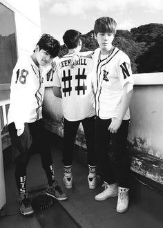 BTS Bangtan. Jungkook, Rap Monster, Jin.