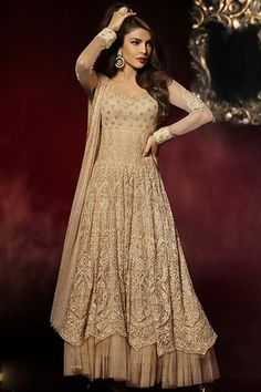 Fawn Color Priyanka Chopra Style Designer Party Wear Salwar Kameez From Skysarees.