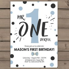 First Birthday Invitation boy 1st birthday Mr Onederful