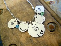 Little Crown Personalized Hand Stamped Necklace--without the birthstones