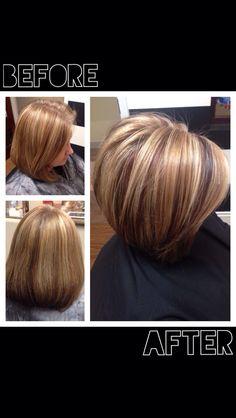 Salon Bijou Lake Norman NC  before and after, short bob, asymmetrical bob, highlights, red hair, hair color,  Tonya.yount1@gmail.com