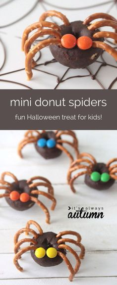 Mini Donut Spiders | 29 Party Snacks That Are Perfect For Halloween (Buzzfeed)