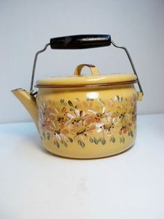 Gold Enamelware Tea Kettle Hand Painted by FolkArtByNancy on Etsy