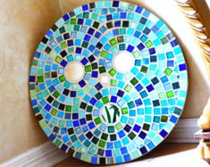 MOSAIC GLASS ART mirrors tiles circles turquoise aqua lime green Bisazza Mosaico Italian round Mosaic Glass Tiles circle wall hanging on Etsy, € Mirror Tiles, Glass Mosaic Tiles, Garden Lighting Wedding, Garden Wedding, Diy Party Tent, Septic Tank Covers, Yard Art Crafts, Covered Garden, Septic System