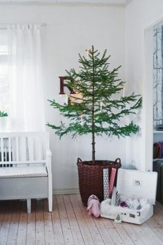 Christmas ☃ Winter Tree with Vintage Suit Case