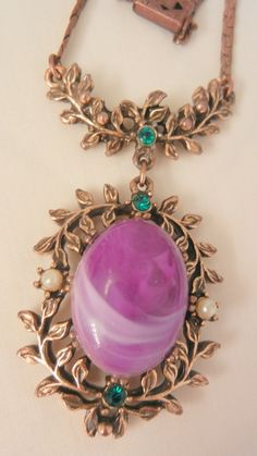 Today's lovely arrivals Lovely romantic large purple art stone faux seed pearl green rhinestone drop Necklace