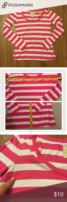 ✅FREE w/ $20 purchase Hollister long sleeved top  Same day shipping (excluding Sun/holidays or orders placed after P.O. Closed)  10% off of 2+ bundles  ❓Please ask any questions prior to buying. I want you to be % Happy❣  Striped white/pink long sleeved boat neck top. This is a reposh. PRICE FIRM (unless bundled). Super cute just too short for my long torso. See photos for flat measurements. Note the tiny snag (it came to me this way--I never personally wore it) and did not notice it until…