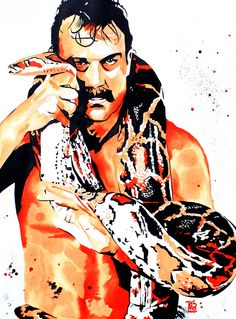 """Jake the Snake Roberts - Ink and liquid acrylic on 22"""" x 30"""" watercolor paper"""