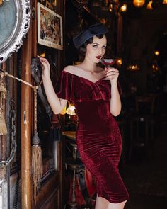 """In front of the most charming and unique cafe in the entire world """"Zlatna Ribica"""" (meaning Golden Fish) in Sarajevo 🐠🍷 Wearing the Burgundy Velvet Sophia dress and hat by editorial by one of the best photographers from Bosnia & Herzegovina 📷 Rock Chic, Idda Van Munster, Sophia Dress, Pin Up, Vintage Outfits, Vintage Fashion, Girly Outfits, Stylish Outfits, Fashion Outfits"""