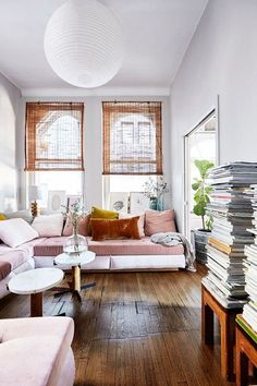 Scandinavian blush contemporary living room