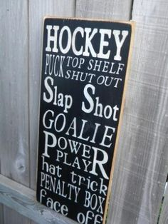 For a boys room    Hockey Typography Sign subway sign by Wildoaks on Etsy, $30.00