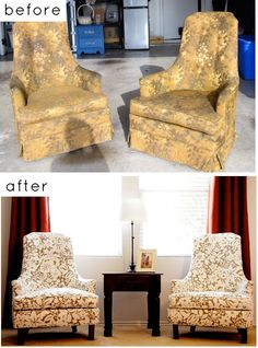 I stumbles upon a chair exactly like this at a consignment shop, it was old and out dated. I wanted to snag it up to get it reupholstered. Then I come across this pic the same evening. I smell destiny. www.homedit.com