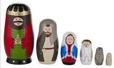 A set of six Russian dolls including a King, Joseph, Mary, The Angel Gabriel, a donkey and a wee Baby Jesus.