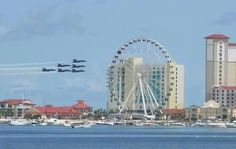 Blue Angels flying at Pensacola Beach on 4 th of July week-end.