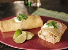 Tortilla Omelet Burrito with Pulled Chicken and Salsa Verde recipe from Bobby Flay via Food Network