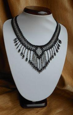 Beaded Necklace Black necklace Fringe by BeadedJewelryVirunia
