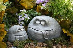Funny Garden Rock Face Heads - Concrete Garden Decor