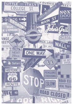 Street Signs Mural by Mr Perswall Mural Wallpaper Direct is part of Teen room A fun photo montage of road signs, with some quirky additions Available in 3 colours shown in the black and white - Wallpaper Direct, Screen Wallpaper, Wallpaper Backgrounds, Iphone Wallpaper, Unique Wallpaper, Graffiti Wallpaper, Wallpaper Murals, Wallpaper Gallery, Band Wallpapers