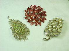 Vintage Rhinestone Brooch Set/3 Glitzy Pins Stocking Stuffer!  by LavenderGardenCottag
