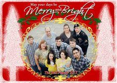 Merry and Bright Christmas Family Photo Printable Card DIY