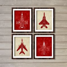 Airplanes (Set of 4) 8x10- Maroon Red Vintage Planes Nursery Boys Room Decor Transportation Aviation Instant Download Digital Printable Art
