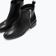 ZIPPED FURRY LEATHER BOOTIE - Shoes - Woman - SHOES & BAGS | ZARA Jordan |  99.00 JOD