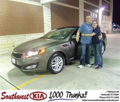 #HappyAnniversary to Johnathan Tejeda on your 2013 #Kia #Optima from Kathy Parks at Southwest KIA Rockwall!