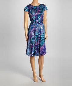 Another great find on #zulily! Blue Geometric Satin Angel-Sleeve Dress & Scarf #zulilyfinds