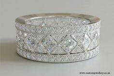 Diamond Vintage Art Deco Style Wedding Band Princess Cut New Zealand