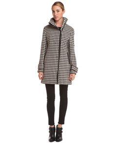 Calvin Klein Black/White Houndstooth Pleather Accented Coat Women #Outerwear