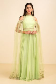 NEHA SARAN sea green floral embroidered cold shoulder gown