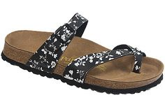 Papillio Tabora  Climbing Roses Black/White Birko-Flor  $99     You'll love how this classy thong looks on your feet. The soft, non-binding fit, plus security and top-strap adjustability, make it a good candidate for your favorite summer sandal. Lightweight, durable EVA soles provide a flexible walk and cushion. Resoleable.