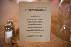 "Fun Wedding Reception Games: ""The Kissing Game"", in order for guests to get the newlyweds to kiss, they must first perform tasks drawn from a bowl, like kissing THEIR significant other, telling a funny joke, or getting their table to play duck-duck-goose with them!"