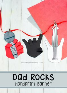 Handprint Father's Day Paper Banner Craft with printable template for creating a hand holding a Microphone, 'Rock On' Hand, and Guitar. #papercraftsforkids #HandprintHolidays #FathersDayCrafts Cute Kids Crafts, Owl Crafts, Paper Crafts For Kids, Craft Activities For Kids, Activity Ideas, Fingerprint Crafts, Footprint Crafts, Fathersday Crafts, Fathers Day Banner