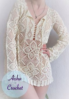 Ideas for knitting lace tunic ravelry Lace Tunic, Crochet Cardigan, Lace Knitting, Crochet Lace, Pineapple Crochet, Crochet Woman, Crochet Fashion, Crochet Clothes, Pulls