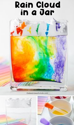 Rain Cloud in a Jar Experiment 🌧- such a fun science activity for kids! A great STEAM project for kids Science Experiments For Preschoolers, Preschool Science, Science For Kids, Science Curriculum, Summer Science, Chemistry Experiments, Science Fun, Physical Science, Science Education