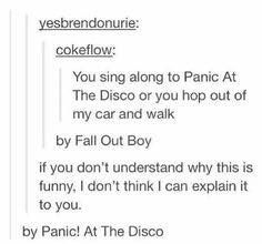 Funny post about Fall Out Boy and Panic! at the Disco and their signature style of song titles << by Panic! At the disco Pop Punk, Emo Bands, Music Bands, Emo Band Memes, Band Jokes, I Love Music, Music Is Life, Superwholock, Tumblr Funny