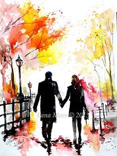 New York Love Watercolor Romantic Painting of Central Park - Original Watercolor Painting - Lana Moes Art - Wanderlust Illustration (100.00 USD) by LanasArt