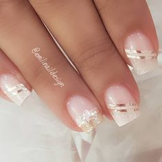 Gel Nail Art Designs, Elegant Nail Designs, French Nail Designs, Colorful Nail Designs, Elegant Bridal Nails, Elegant Nails, Stylish Nails, Pretty Toe Nails, Cute Nails