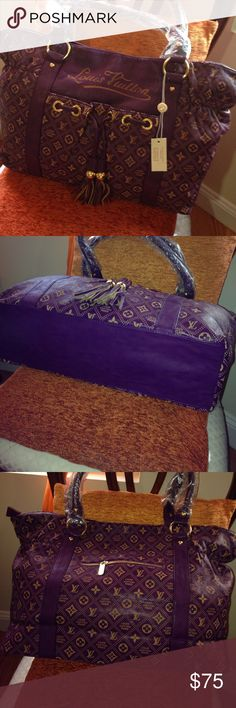 "NWT Purple Designed Handbag NWT Purple/Gold Designer LV HandbagH: 13"", W: 21.5"", D: 5.5"". Faux soft leather, cloth Interior. Back zipper pocket, front pocket with magnetic  closure. Bags Shoulder Bags"