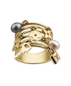 Louis Vuitton Yellow Gold Monogram and Pearl Charm Ring