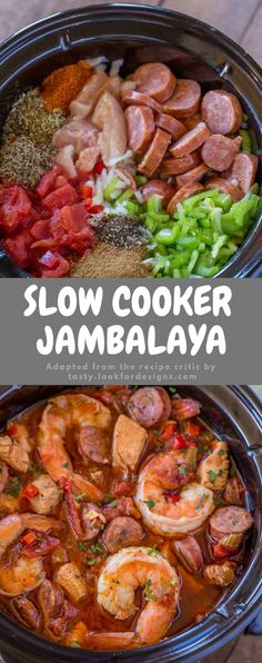 Slow Cooker Jambalaya with andouille sausage, rooster and shrimp cooked slow also gradual with bold spices and greens with just 10 minutes of prep. Crock Pot Food, Crockpot Dishes, Crock Pot Slow Cooker, Slow Cooker Recipes, Cooking Recipes, Healthy Recipes, Slow Cooker Kitchen, Crockpot Meals, Cooking Ideas