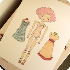 Articulated vintage paperdoll by Gingermelon on etsy