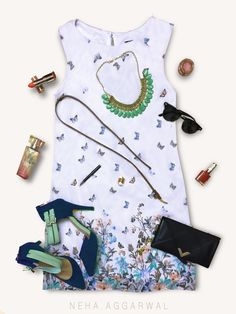 #LookYourBestIn 1. White Summer Shift Dress 2. Blue Stilettos 3. Blue Envelope Clutch 4. Sea Green Choker Necklace 5. Minimal Makeup 6. Black Wayfarers