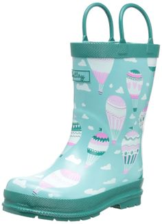 Hatley Little Girls' Rainboots Hot Air Balloons, Aqua, 8. Pull up handles. Match back to hatley's raincoats. Rubber. Soft jersey lining.