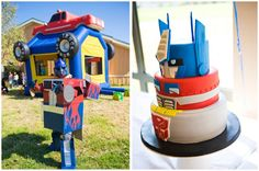 Optimus Prime costume with the help of moving boxes and a little spray paint! And that cake is awesome!!
